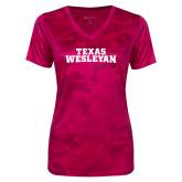 Ladies Pink Raspberry Camohex Performance Tee-Texas Wesleyan