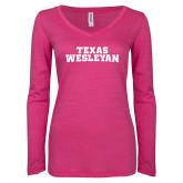 ENZA Ladies Hot Pink Long Sleeve V Neck Tee-Texas Wesleyan