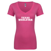 Next Level Ladies Junior Fit Ideal V Pink Tee-Texas Wesleyan