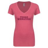 Next Level Ladies Vintage Pink Tri Blend V Neck Tee-Texas Wesleyan Hot Pink Glitter