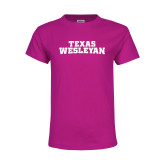 Youth Cyber Pink T Shirt-Texas Wesleyan