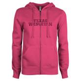 ENZA Ladies Fuchsia Fleece Full Zip Hoodie-Texas Wesleyan Hot Pink Glitter