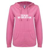 ENZA Ladies Hot Pink V Notch Raw Edge Fleece Hoodie-Texas Wesleyan