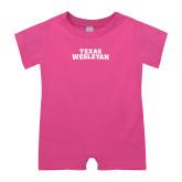 Bubble Gum Pink Infant Romper-Texas Wesleyan
