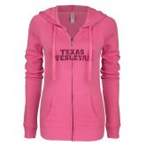 ENZA Ladies Hot Pink Light Weight Fleece Full Zip Hoodie-Texas Wesleyan Hot Pink Glitter