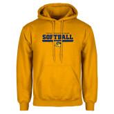 Gold Fleece Hoodie-Softball Design