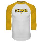 White/Gold Raglan Baseball T Shirt-Secondary Mark