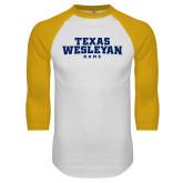 White/Gold Raglan Baseball T Shirt-Texas Wesleyan Rams