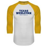 White/Gold Raglan Baseball T Shirt-Softball