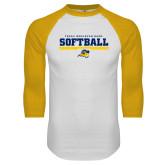 White/Gold Raglan Baseball T Shirt-Softball Design