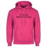 Fuchsia Fleece Hoodie-Texas Wesleyan Hot Pink Glitter