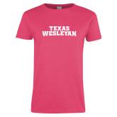Ladies Fuchsia T Shirt-Texas Wesleyan