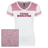 Ladies White/Heathered Pink Juniors Varsity V Neck Tee-Texas Wesleyan Hot Pink Glitter