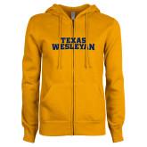 ENZA Ladies Gold Fleece Full Zip Hoodie-Texas Wesleyan