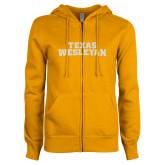 ENZA Ladies Gold Fleece Full Zip Hoodie-Texas Wesleyan White Soft Glitter
