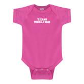 Fuchsia Infant Onesie-Texas Wesleyan