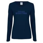 Ladies Navy Long Sleeve V Neck Tee-Texas Wesleyan Dark Blue Glitter
