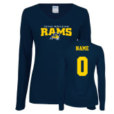 Ladies Navy Long Sleeve V Neck Tee-Primary Mark, Personalized Name and #