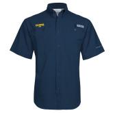 Columbia Tamiami Performance Navy Short Sleeve Shirt-Secondary Mark