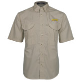 Khaki Short Sleeve Performance Fishing Shirt-Secondary Mark