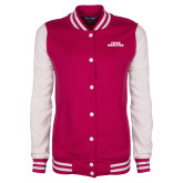 Ladies Pink Raspberry/White Fleece Letterman Jacket-Texas Wesleyan