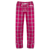 Ladies Dark Fuchsia/White Flannel Pajama Pant-Texas Wesleyan
