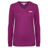 Ladies Deep Berry V Neck Sweater-Texas Wesleyan