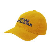 Gold Flexfit Mid Profile Hat-Texas Wesleyan