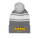 Grey/White Two Tone Knit Pom Beanie w/Cuff-Primary Mark