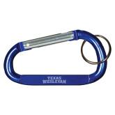 Blue Carabiner with Split Ring-Texas Wesleyan  Engraved