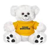 Plush Big Paw 8 1/2 inch White Bear w/Gold Shirt-Texas Wesleyan