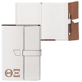 Fabrizio Junior White Portfolio w/Loop Closure-Greek Letters - One Color Engraved