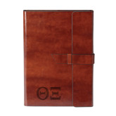 Fabrizio Brown Portfolio w/Loop Closure-Greek Letters - One Color Engraved