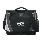 Slope Black/Grey Compu Messenger Bag-Greek Letters - One Color