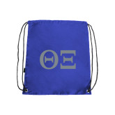 Nylon Royal Drawstring Backpack-Greek Letters - One Color