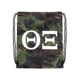 Nylon Camo Drawstring Backpack-Greek Letters - One Color