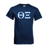 Navy T Shirt-Greek Letters - One Color