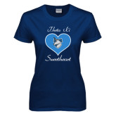 Ladies Navy T Shirt-Sweetheart Heart