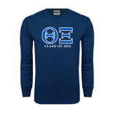 Navy Long Sleeve T Shirt-Greek Letters - Personalized Class Of...