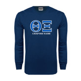 Navy Long Sleeve T Shirt-Greek Letters - Personalized Chapter Name