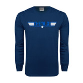 Navy Long Sleeve T Shirt-Theta Xi - Top Gun
