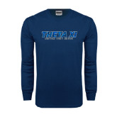 Navy Long Sleeve T Shirt-Theta Xi - Polygon w Motto