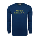 Navy Long Sleeve T Shirt-Rush Camo Halftone
