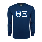 Navy Long Sleeve T Shirt-Greek Letters - One Color