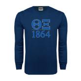 Navy Long Sleeve T Shirt-Greek Letters 1864 Stacked