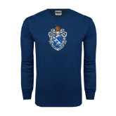 Navy Long Sleeve T Shirt-Crest