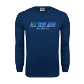 Navy Long Sleeve T Shirt-Slogan