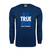 Navy Long Sleeve T Shirt-Slogan Stacked
