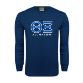 Navy Long Sleeve T Shirt-Greek Letters - Personalized Alumni Year