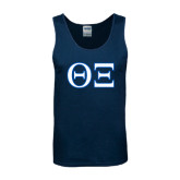 Navy Tank Top-Greek Letters - One Color